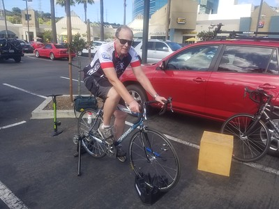 Gary D. trying out the new club bike/trainer
