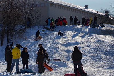 Sledding at the Veterans School