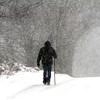 Here a person walks along High Street during the blizzard in Dunstable. Nashoba Valley Voice Photo by David H.Brow
