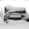 The English Memorial keeps it's dignity during the newest Blizzard on Brook Street in Dunstable.Nashoba Valley Voice Photo by David H.Brow.