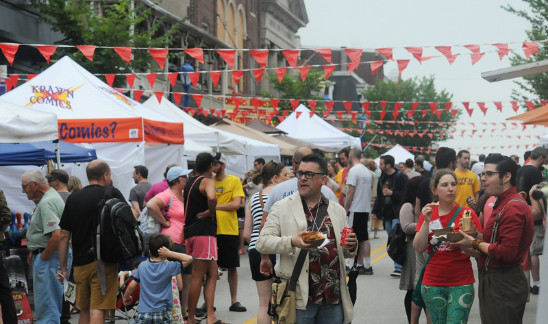 John Strickler - Digital First Media<br /> Bridge Street is crowded with fans of the movie The Blob during Blob Fest in Phoenixville Saturday.