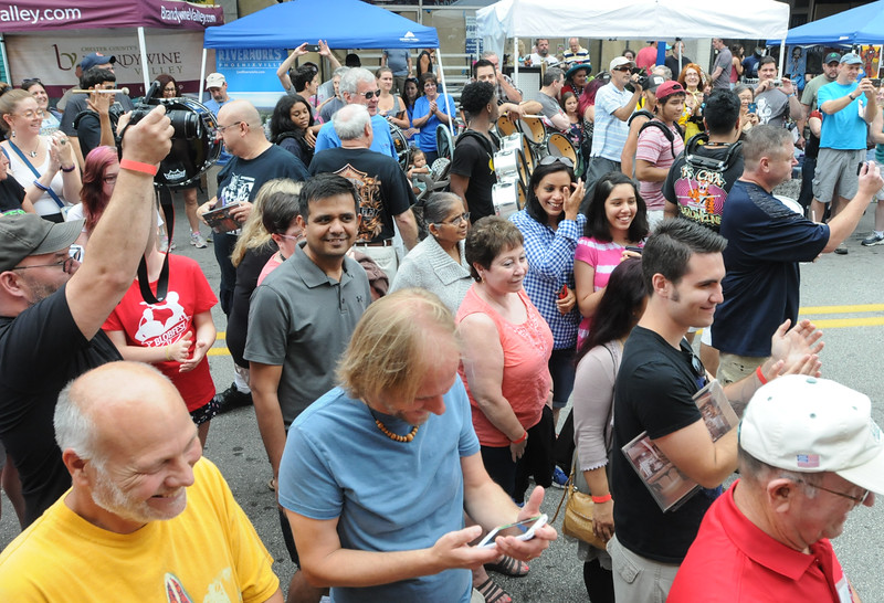 John Strickler - Digital First Media<br /> The crowd watches and cheers as The Blob is defeated during Saturday's events in Phoenixville.
