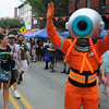 John Strickler - Digital First Media<br /> Captain OSI74 waves to the crowd while walking in the fire extinguisher parade as part of The Blob Fest Saturday.