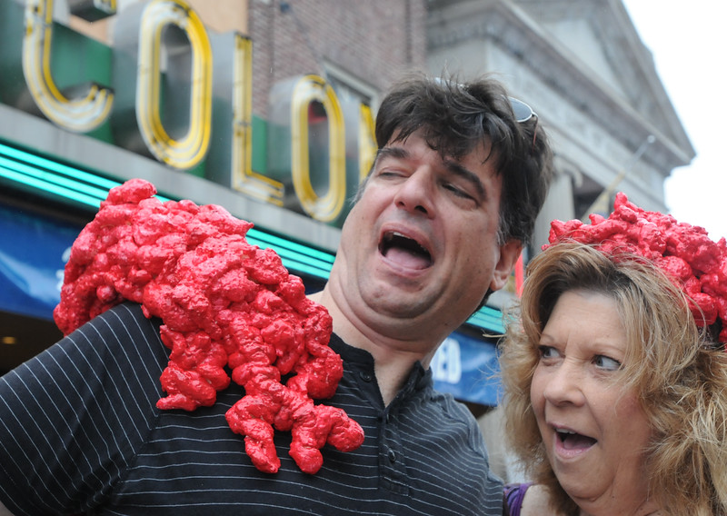 John Strickler - Digital First Media<br /> Jack and Maggie Rotoli were attacked by The Blob while attending the festival Saturday. The Rotloi's hand made the blob as part of their wardrobe for the days events.
