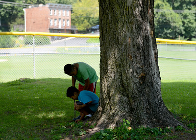 """Tania Barricklo-Daily Freeman                       Brothers Josh Garcia,9, top, and Johnny,8, look for """"buried treasure"""" while playing at Block Park Wednesday afternoon.The boys are children of Alma Garcia of Kingston."""