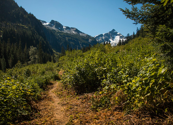 Approaching the end of the flat, the beginning of the uphill! That's Whatcom Peak in the distance.