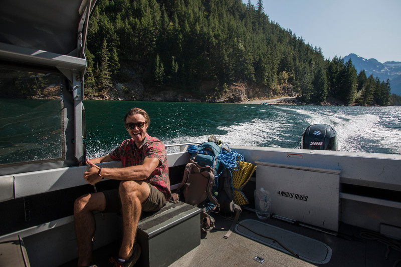 Taking the Ross Lake boat ferry to Little Beaver!