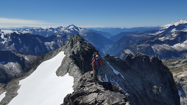 Traversing the knife edge from the top of Whatcom Peak. We glissaded down that snowfield towards Perfect Pass - The top of that snowfield is where we spotted bear tracks and droppings! (photo taken by Kristian Eschenberg)