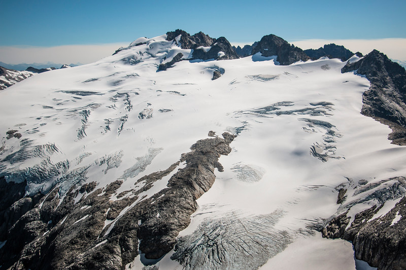 Looking down on the Challenger Glacier from Whatcom Peak.