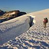 Huge crevasses on the Challenger Glacier. (Photo taken by Kristian Eschenberg)