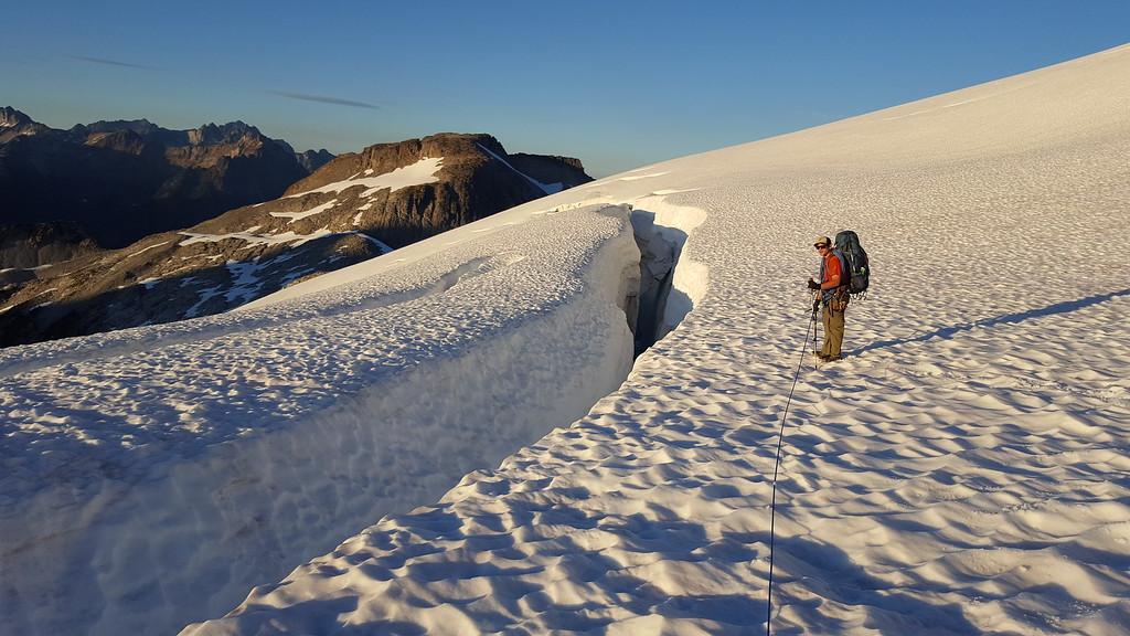 Huge crevasses on the Challenger Glacier. (Photo taken by Kristian Eschenberg)