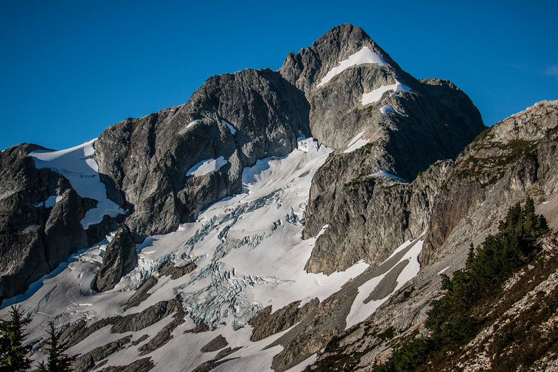 Whatcom Peak! We traversed along the ridge on the right, climbed up those snowfields and rock, all the way to the summit.