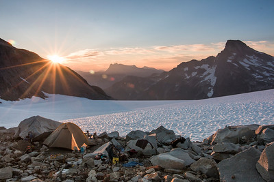 Our camp on the Challenger Arm, looking east at sunrise and Luna Peak on the right.