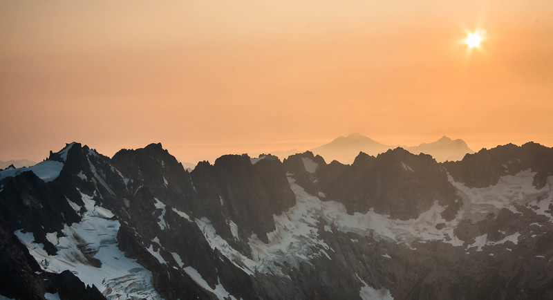 Northern Pickets at sunset, Baker and Shuksan in the background.