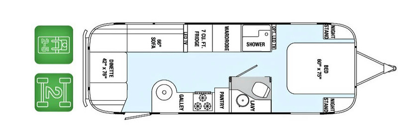 2014 Airstream International 27FB floor plan, courtesy of Airstream