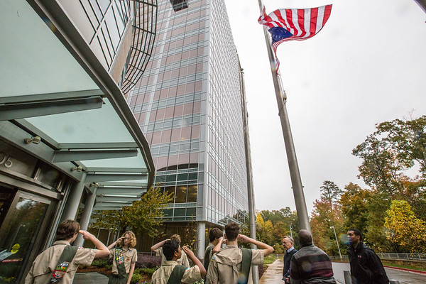 Cox Enterprises celebrates Veterans Day at their headquarters on Friday, November 9, 2018.  The ceremony honored WWII veterans who attended the ceremony as well as Cox employees who are military with a program hosted by WSB's Scott Slade and including Clark Howard, an active Georgia Guard member.  (Jenni Girtman/ Atlanta Event Photography)