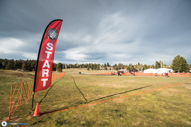 The start line is wide and immediately uphill.  The wind was howling today, too.