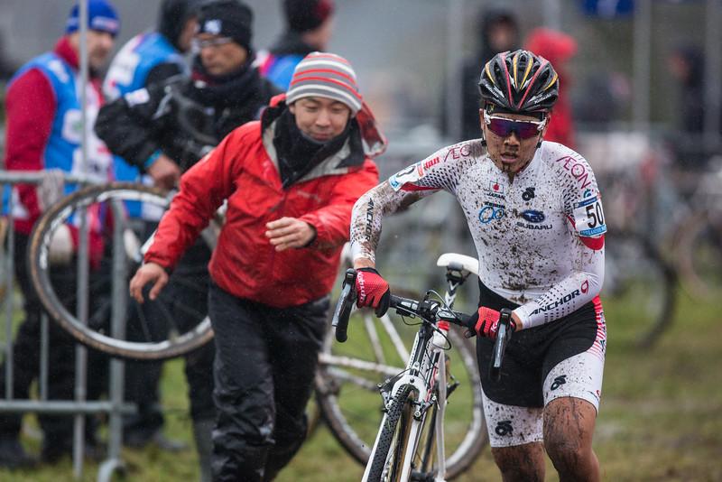 Toki Sawada (JAP) changes bikes at 2016 GP Adrie van der Poel UCI World Cup cyclocross race in Hoogerheide, Netherlands