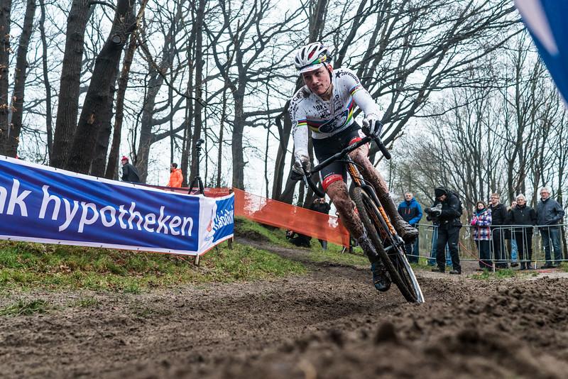The current cyclocross world champion, Mathieu van der Poel races the 2016 GP Adrie van der Poel UCI World Cup cyclocross race in Hoogerheide, Netherlands