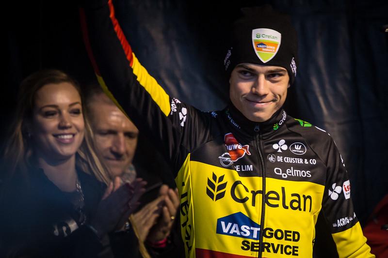 Wout van Aert, winner of the overall world cup after the 2016 GP Adrie van der Poel UCI World Cup cyclocross race in Hoogerheide, Netherlands