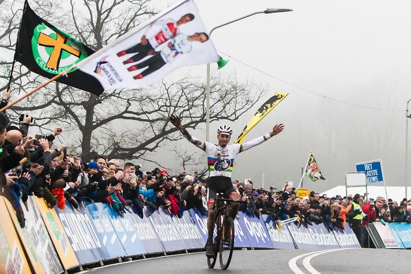 Mathieu van der Poel , winner of the 2016 GP Adrie van der Poel UCI World Cup cyclocross race in Hoogerheide, Netherlands