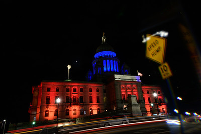 The Rhode Island State from the front, appropriately lit for a special veterans event.