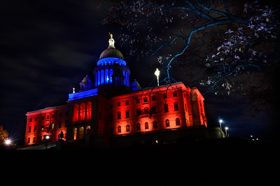 The rear of the Rhode Island State House, specially lit for a veteran's celebration.