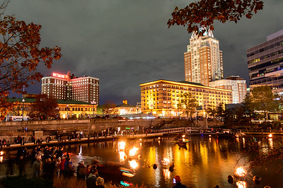 Waterfire, Providence, at the Basin, specially lit for a veteran's celebration.