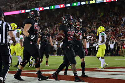 Bryce Love (20) celebrates another touchdown during his historic season for the Stanford Cardinal in their win over the University of Oregon at Stanford Stadium.