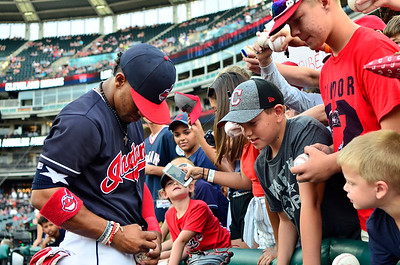 Cleveland Indians shortstop Francisco Lindor signs autographs for fans before taking on the Los Angeles Angels of Anaheim at Progressive Field.