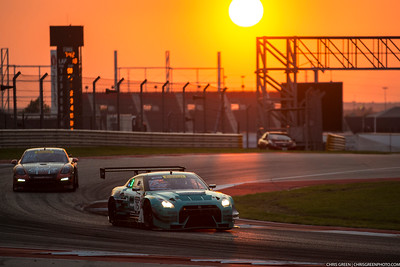 Frankie Montecalvo pilots his Nissan GT-R GT3 as the sun sets on the Pirelli World Challenge Grand Prix of Texas at Circuit of the Americas in Austin, TX.