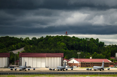 Storm clouds gather over the 117th Air Refueling Wing at the Birmingham Air National Guard Base in Birmingham, Al.