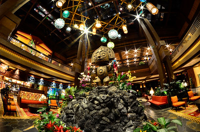 Māui watches over the lobby, ready to greet visitors at Disney's Polynesian Village Resort in Orlando, Fl.