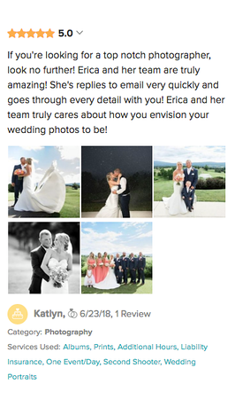 Client review with images on WeddingWire