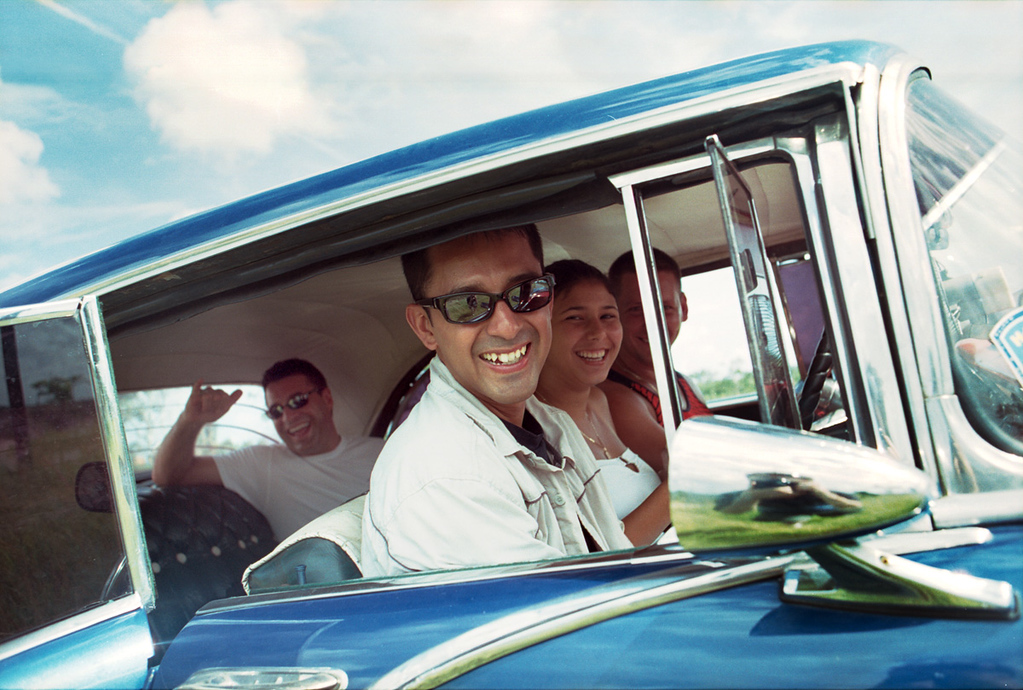From 2005. Carlos (C) and Doug (L) near Matanzas, Cuba in a 1950's Pontiac.