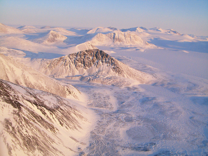 The mountains at the top of Ellesmere Island near the North Pole.