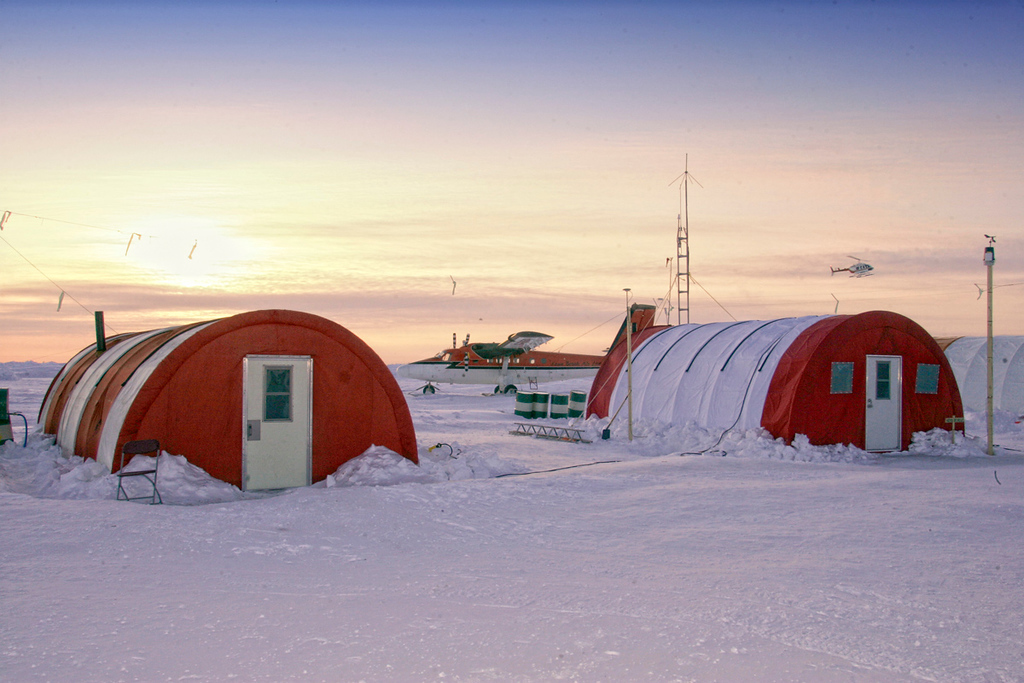 Camp near the North Pole on Ellesmere Island. The Twin Otter we used to get there is in the background.