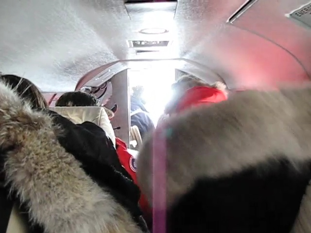 A video of our group packed into the Falcon 10 plane. With the big parkas there wasn't much room.