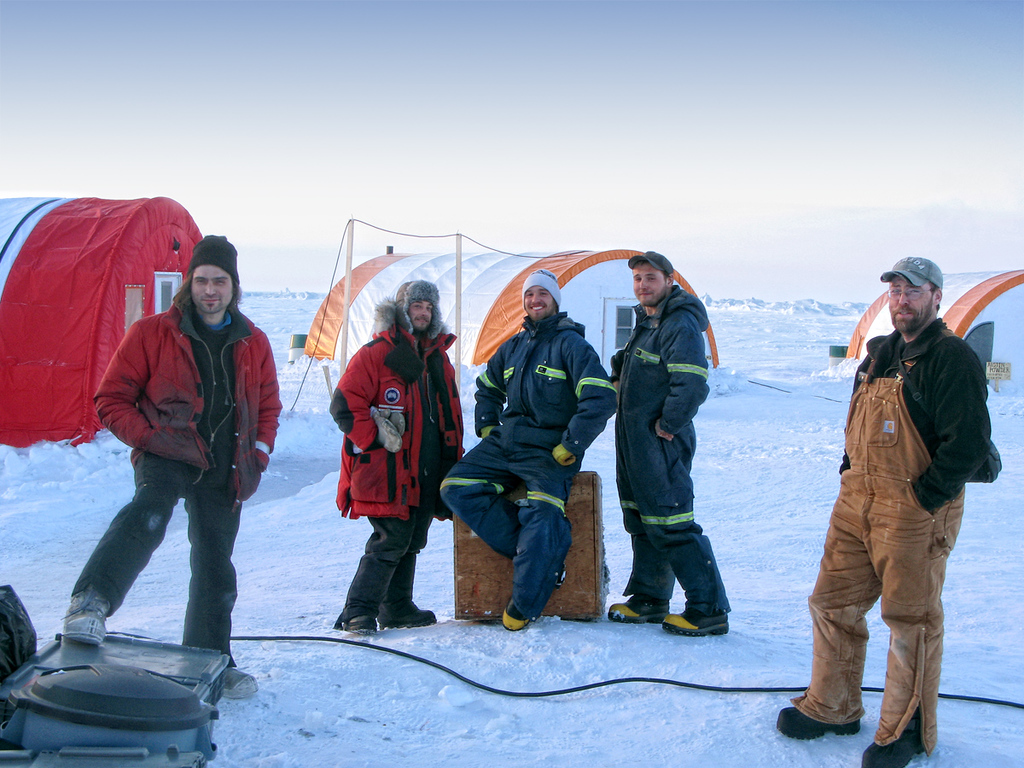 These are the scientists who live at the camp near the North Pole. There are only about 20 scientists and helicopter pilots living there. They are mapping the polar continental shelf.