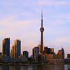 A photo of the Toronto skyline shot from the island airport.