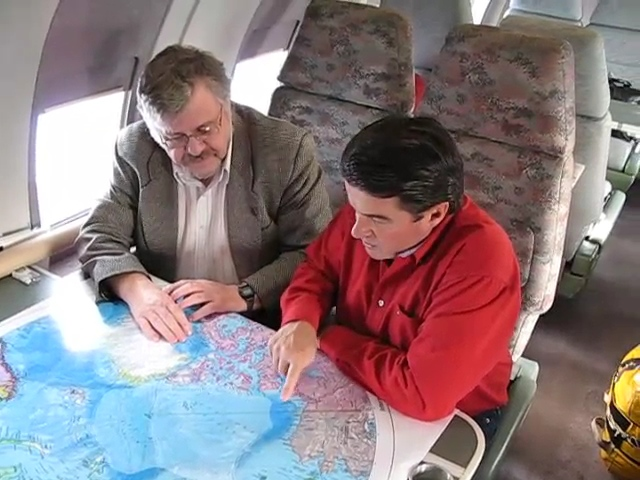 A video of the map being viewed on the plane on the way up to the North Pole.