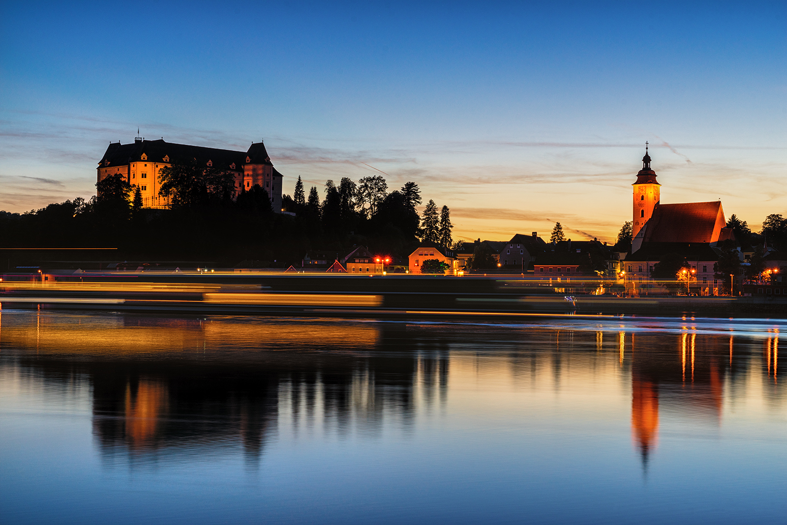 Geis, austria, long exposure, sunset, hdr, sony, sony a7r, castle, church, water, blue, yellow