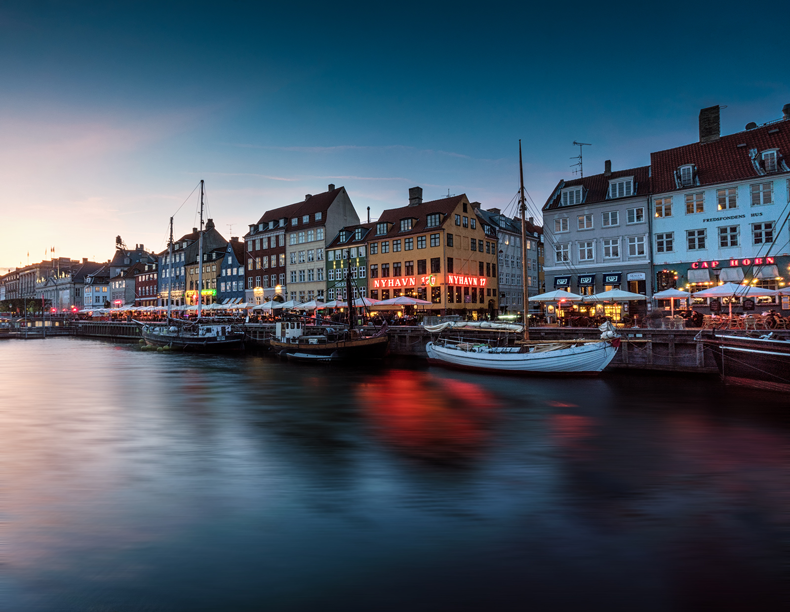 Copenhagen, Denmark, Nyhavn, long exposure, sony, sony a6500, hdr, water, boats, sunset.