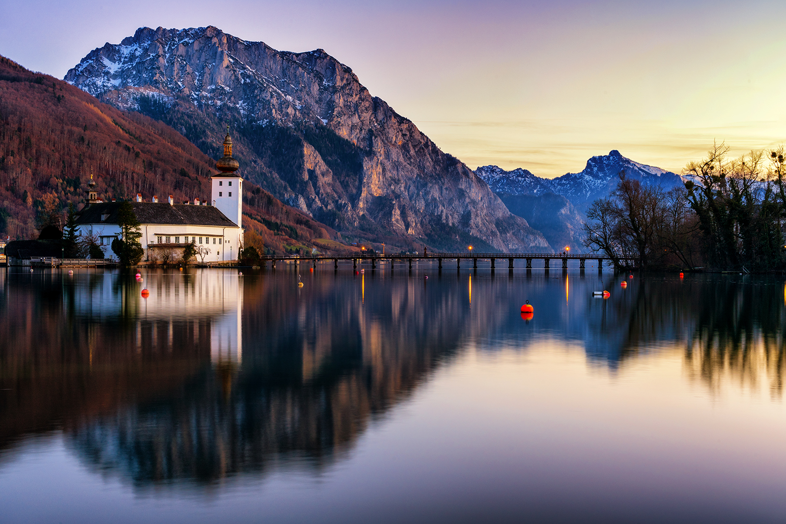 traunsee, austria, reflection, water, mountains, sony, sony a7ii, sony 24-70, sunset, snow