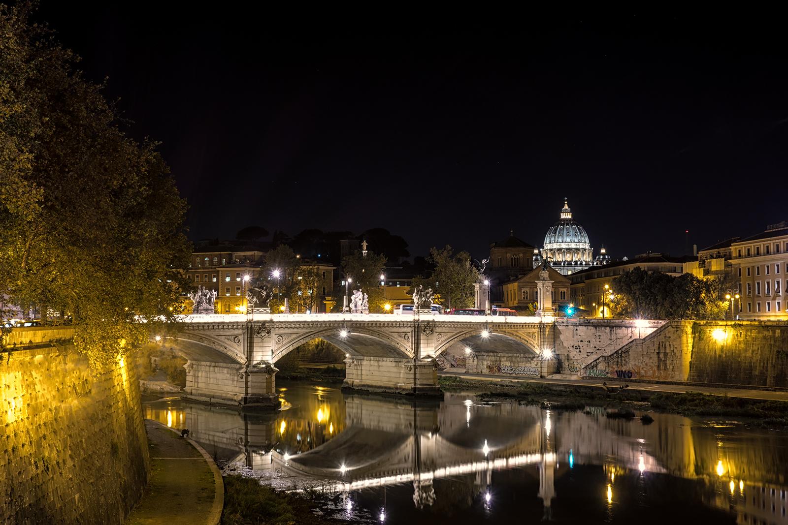 ST. PETER'S BASILICA, Rome, long exposure, night, pope, lights, basilica, church, bridge