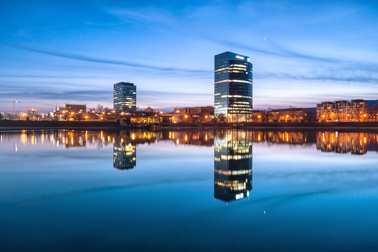 IBM, Polus, Kuchajda, HDR, slovakia, bratislava, sunset, buildings, lake, water, sky