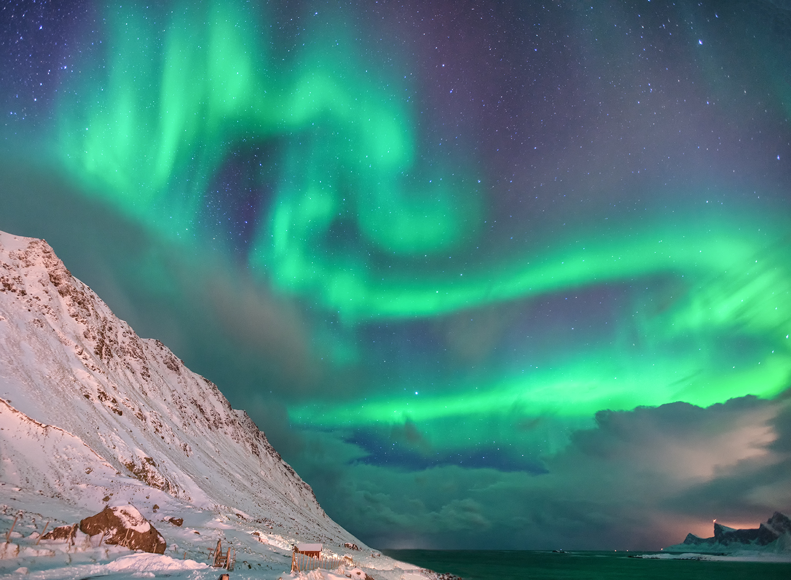 Lofoten, aurora, northern lights, hdr, mountains, norway