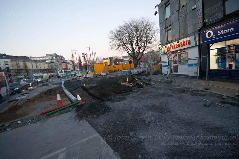 Construction work as part of Eyre Square redesign