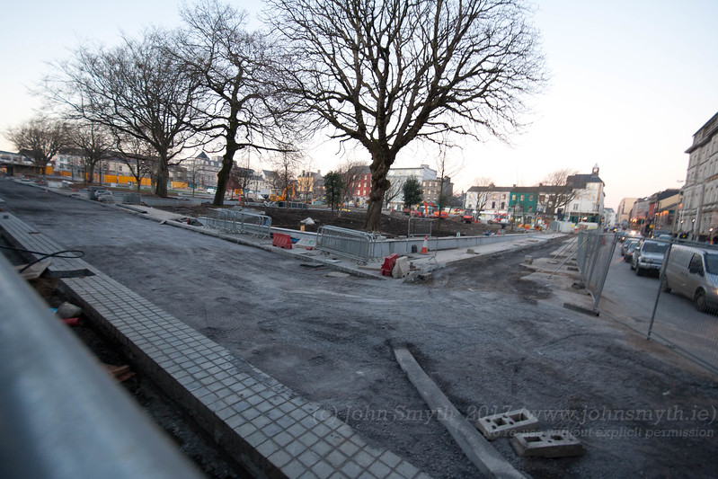 Construction work as part of Eyre Square redesign, at the corner near Queen Street.