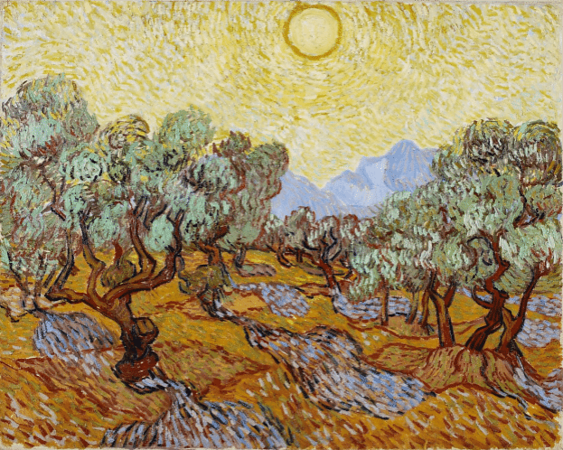 "Vincent Van Gogh, ""Olive Orchard with Mountains and Disk of the Sun,"" 1889, oil on canvas, 29 x 36.5 in., The Minneapolis Institute of Arts, William Hood Dunwoody Fund"
